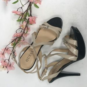 Guess Black Taupe Patent Leather Platform Heels
